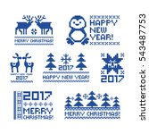 a set of christmas stickers.... | Shutterstock .eps vector #543487753