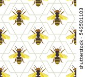 Vector Seamless Pattern With Bee