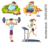 obesity and health cartoon set...   Shutterstock . vector #543510073