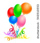 colored balloons with ribbons....
