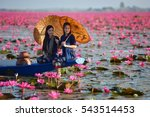 laos woman in flower lotus lake ... | Shutterstock . vector #543514453