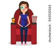 girl sitting in cinema and... | Shutterstock .eps vector #543520363