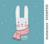 cute bunny. hand drawn rabbit... | Shutterstock .eps vector #543569533
