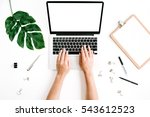 workspace with hands typing on... | Shutterstock . vector #543612523