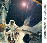 """Small photo of Astronaut in the outer space. """"The elements of this image furnished by NASA"""""""