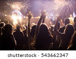 cheering crowd and fireworks  ... | Shutterstock . vector #543662347