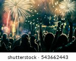 cheering crowd and fireworks  ... | Shutterstock . vector #543662443