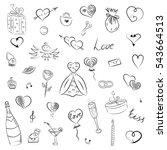 hand drawn set of valentine's... | Shutterstock .eps vector #543664513