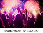 cheering crowd and fireworks  ... | Shutterstock . vector #543665227