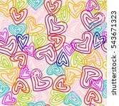 heart. vector seamless doodle... | Shutterstock .eps vector #543671323