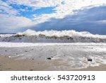 Big Wave Breaking On The Beach...