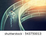 man urban runner having... | Shutterstock . vector #543750013