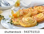 baked hearty puff pastry rolls... | Shutterstock . vector #543751513