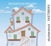 cartoon styled house  vector... | Shutterstock .eps vector #543758593