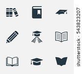 set of 9 simple knowledge icons.... | Shutterstock .eps vector #543823207