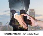 double exposure of businessman... | Shutterstock . vector #543839563