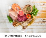 selection of food for weight... | Shutterstock . vector #543841303