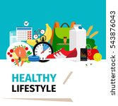 healthy lifestyle concept.... | Shutterstock .eps vector #543876043