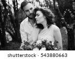 black and white wedding portrait | Shutterstock . vector #543880663