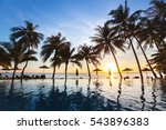 beautiful sunset tropical beach ... | Shutterstock . vector #543896383