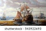 fisherman boat  paintings oil ... | Shutterstock . vector #543922693