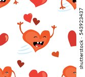 seamless valentines day... | Shutterstock .eps vector #543923437