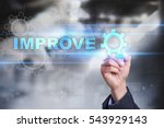 Small photo of Businessman is drawing on virtual screen. improve concept.