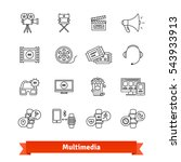 multimedia thin line art icons... | Shutterstock .eps vector #543933913