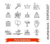 party thin line art icons set.... | Shutterstock .eps vector #543934207