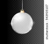 christmas silver glass ball... | Shutterstock .eps vector #543935107