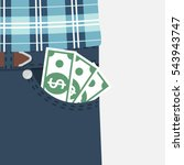 money in pocket. cash  earned... | Shutterstock .eps vector #543943747