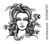Vector Black And White Medusa...