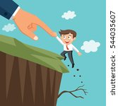huge hand help businessman... | Shutterstock .eps vector #544035607