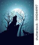 silhouette of the wolf howling... | Shutterstock .eps vector #544044997