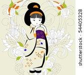 japanese girl | Shutterstock .eps vector #54405328