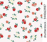 seamless pattern of camellia... | Shutterstock .eps vector #544063987
