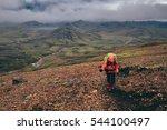 girl hinking the laugavegur... | Shutterstock . vector #544100497