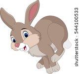 Stock vector cartoon brown rabbit running 544100533