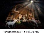 christmas manger scene with... | Shutterstock . vector #544101787