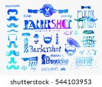 set of vintage barbershop  hair ... | Shutterstock .eps vector #544103953