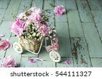 pink carnation in bicycle on...   Shutterstock . vector #544111327