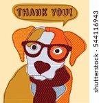 cute dog thank you card... | Shutterstock . vector #544116943