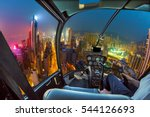 helicopter cockpit flying on... | Shutterstock . vector #544126693