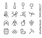 wine line icon set. included... | Shutterstock .eps vector #544128217