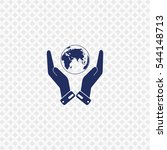 icon of globe and hand on gray... | Shutterstock .eps vector #544148713