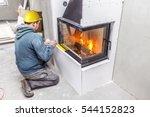 fireplace installing. fireplace ...   Shutterstock . vector #544152823