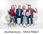 young friends sitting on white... | Shutterstock . vector #544170067