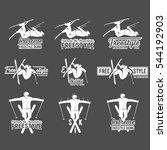 vintage ski freestyle logos ... | Shutterstock .eps vector #544192903