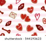 valentine's day hand drawn... | Shutterstock .eps vector #544193623