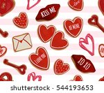 valentine's day hand drawn... | Shutterstock .eps vector #544193653